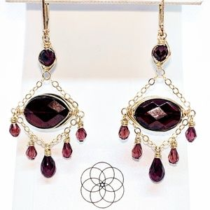 Garnet and 14 karat gold filled earrings $90